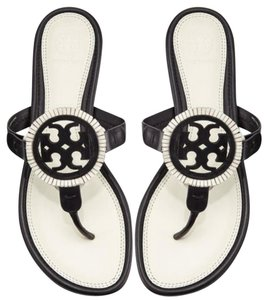 Tory Burch Flip Flops Miller Summer Fringe Black white Sandals