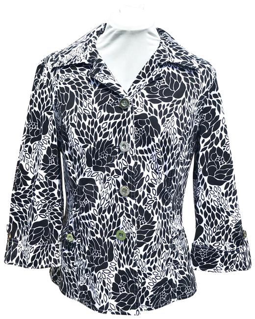 Item - Black / White & Abstract Floral Jacket Size 12 (L)