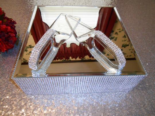 """Silver/Clear 13 Inch """"Bling"""" Square Cake Stand with Plastic """"Bling"""" Cake Servers Tableware"""