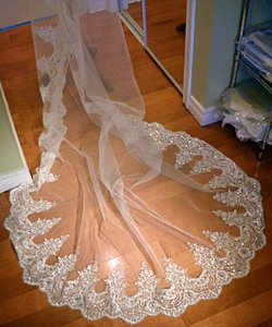 Ivory Long Cathedral Lace - Fully Beaded Mantilla Bridal Veil
