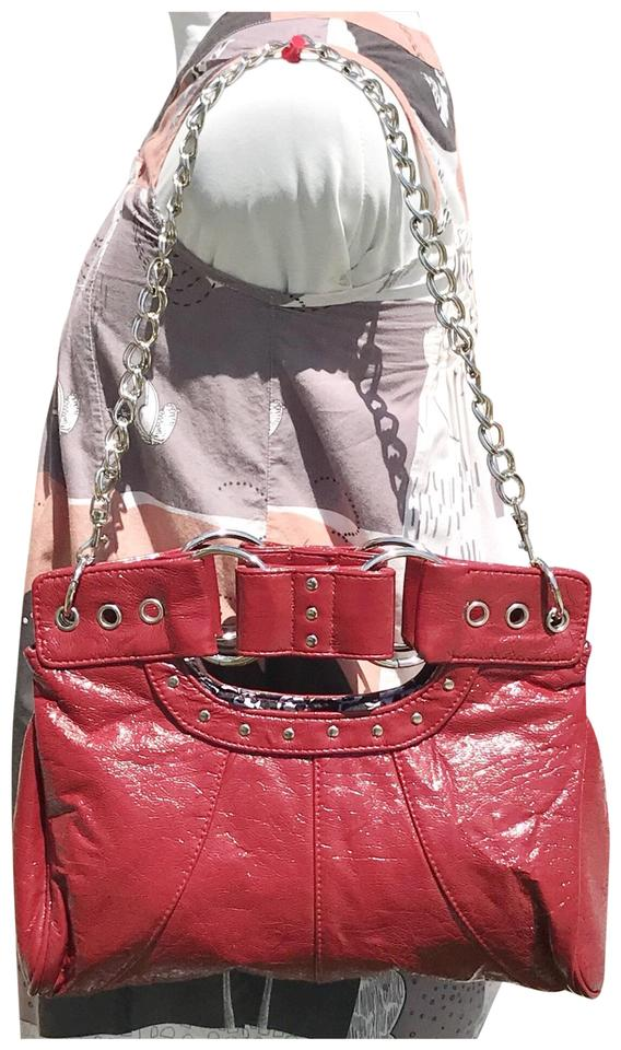 f475cf8786 ALDO Studded Patent Convertible Clutch Red Faux Leather Shoulder Bag ...