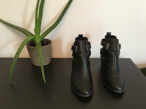 ASOS Buckles Faux Leather Black Boots