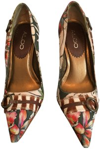 ALDO Tropical Print Stiletto Buckle Detail Brown/Pink Pumps