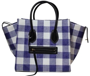 Céline Phantom Paris Luggage Tote in Blue White gingham check plaid NWT