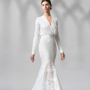 Tadashi Shoji White Jersey Never Worn Casual Wedding Dress Size 16 ...