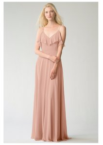 Jenny Yoo Desert Rose Luxe Chiffon Mila Formal Bridesmaid/Mob Dress Size 12 (L)