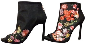 Jessica Simpson Embroidered Sheer Mesh High Heel Bootie Designer Black Multi- Color Floral Pumps