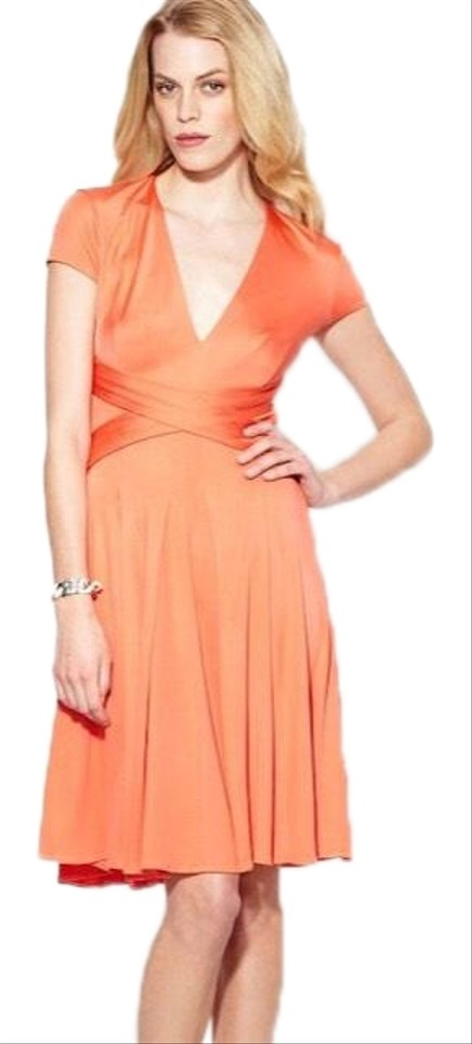 04ead3369e1 ISSA London Coral Jersey Twist Waist Mid-length Cocktail Dress Size ...