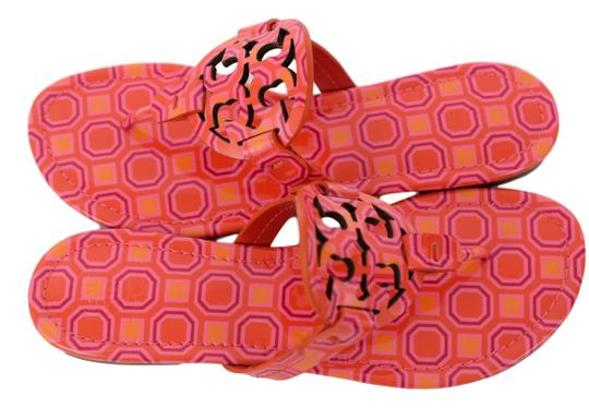 Tory Burch Miller Logo Miler Vivid Orange Octagon Square - 673 Sandals Image 1