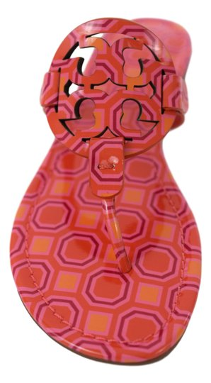 Tory Burch Miller Logo Miler Vivid Orange Octagon Square - 673 Sandals Image 2