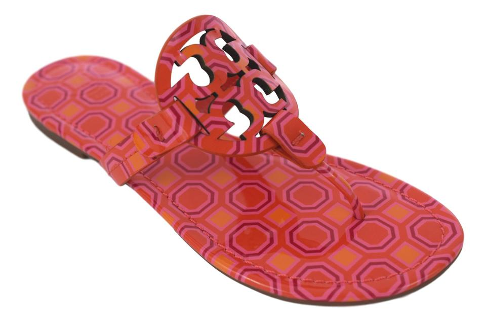 504f027a3 Tory Burch Vivid Orange Octagon Square - 673 Patent Leather Miller Sandals.  Size  US 8 ...