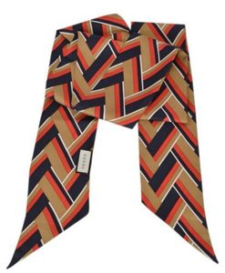 Gucci Silk long scarf Chevron Pattern