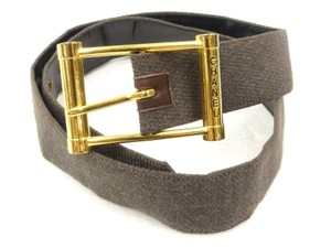 Chanel Chanel Brown Canvas Leather Belt 65 Gold Buckle
