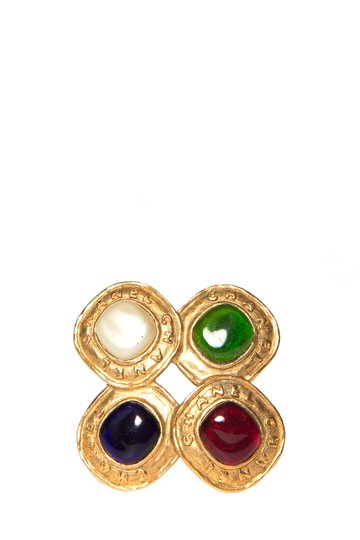 Chanel Chanel Multi-Color Gold-Tone Gripoix Brooch Image 0