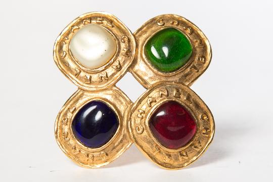 Chanel Chanel Multi-Color Gold-Tone Gripoix Brooch Image 6