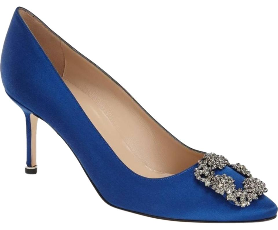 bd90be8752198 Manolo Blahnik Blue Satin Hangisi Pointy Toe Pumps. Size: EU 38 ...