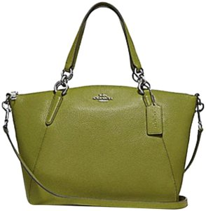 Coach Kelsey Pebbled Leather Crossbody Satchel in YELLOW GREEN/SILVER Details