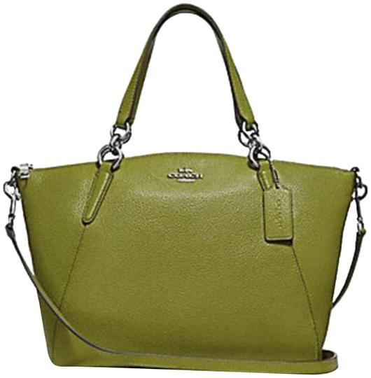 Preload https://img-static.tradesy.com/item/23429672/coach-kelsey-small-pebble-floral-bud-print-interior-f31076-yellow-greensilver-details-leather-satche-0-1-540-540.jpg