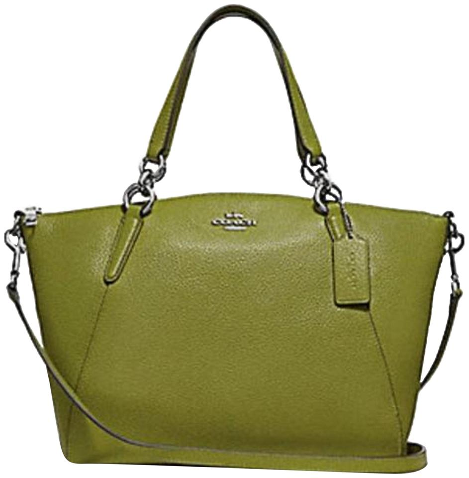 Coach Kelsey Pebbled Leather Crossbody Satchel in YELLOW GREEN SILVER  Details Image 0 ... fe766353f022c