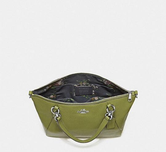 Coach Kelsey Pebbled Leather Crossbody Satchel in YELLOW GREEN/SILVER Details Image 1
