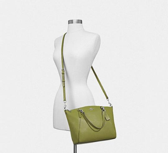 Coach Kelsey Pebbled Leather Crossbody Satchel in YELLOW GREEN/SILVER Details Image 2
