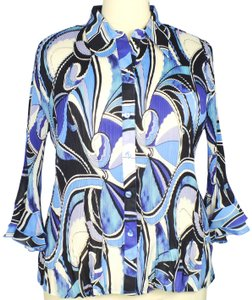 Essentials by Milano 3/4 Sleeve Accordion Pleats Button Down Shirt Multi-Color