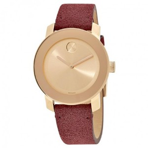Movado Bold Red Gold Rose Dial Ladies Suede Watch