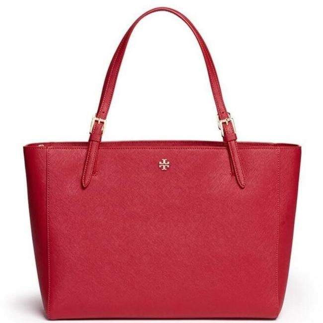 Tory Burch Kir Royale Red Leather Tote Tory Burch Kir Royale Red Leather Tote Image 1