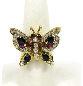 Other Estate 4.10ct Diamonds & Gems 18k Yellow Gold Butterfly Ring/Pin