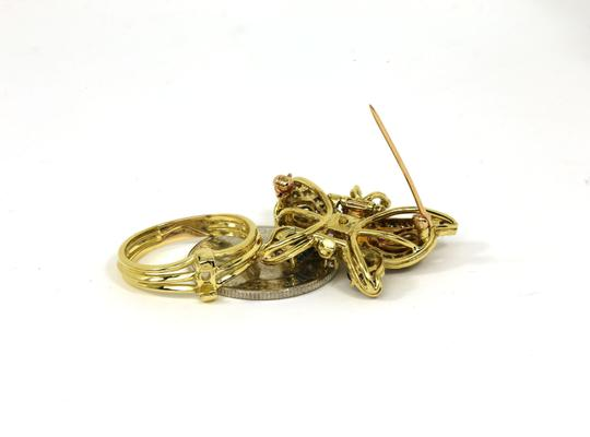 Other Estate 4.10ct Diamonds & Gems 18k Yellow Gold Butterfly Ring/Pin Image 2