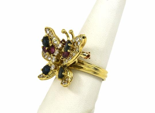 Other Estate 4.10ct Diamonds & Gems 18k Yellow Gold Butterfly Ring/Pin Image 4