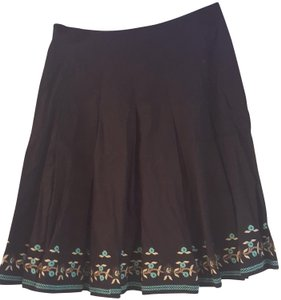 New York & Company Skirt Black with blue, brown, tan and cream embroidery