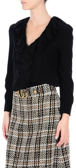Preload https://img-static.tradesy.com/item/23430138/gucci-black-ruffled-v-neck-silk-buttons-with-gg-pearls-blouse-size-petite-6-s-0-1-650-650.jpg