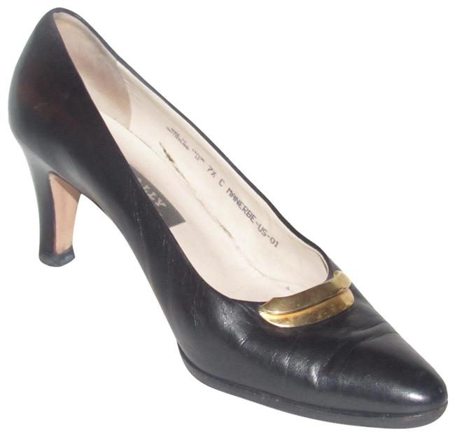 Bally Black Leather with Gold Accents