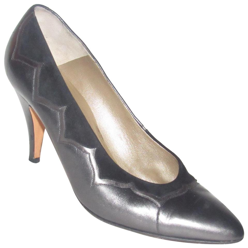 8767fbd3ff4a Bally Pewter Leather and Black Suede Vintage Shoes Designer Pumps ...