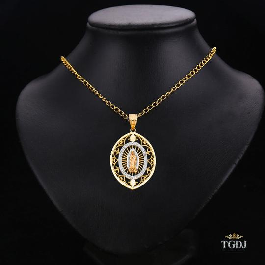 Top Gold & Diamond Jewelry 14K Yellow White Rose Gold Religious Guadalupe Pendant Image 2