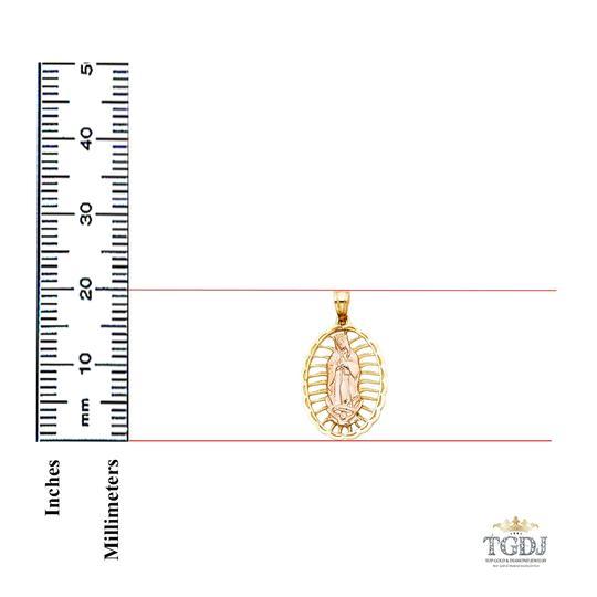 Top Gold & Diamond Jewelry 14K Yellow White Gold Religious Guadalupe Pendant Image 1