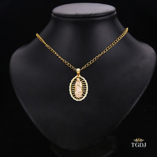 Top Gold & Diamond Jewelry 14K Yellow White Gold Religious Guadalupe Pendant Image 2