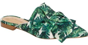 SCHUTZ Palm Palm Leaf Palm Print Knotted Ballerina Green Mules