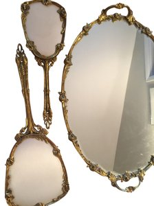 PRICE REDUCTION: Vintage Mirrored and Gold Plated Vanity Set with Look of Mother of Pearl Hairbrush and Hand Held Mirror