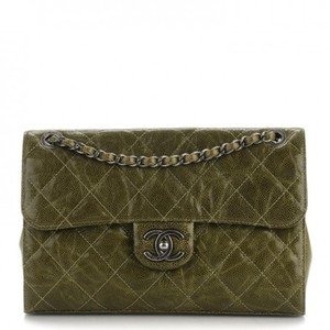 Chanel Calfskin Caviar Flap Army Military Shoulder Bag