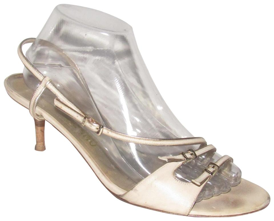 91add505585b Salvatore Ferragamo Taupe Leather with Gold Leather Trim Vintage Shoes Designer  Sandals