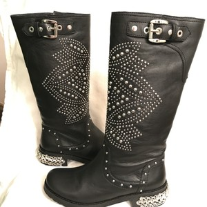 Donald J. Pliner Leather Studded Knee High Motorcycle Biker Black Silver Boots