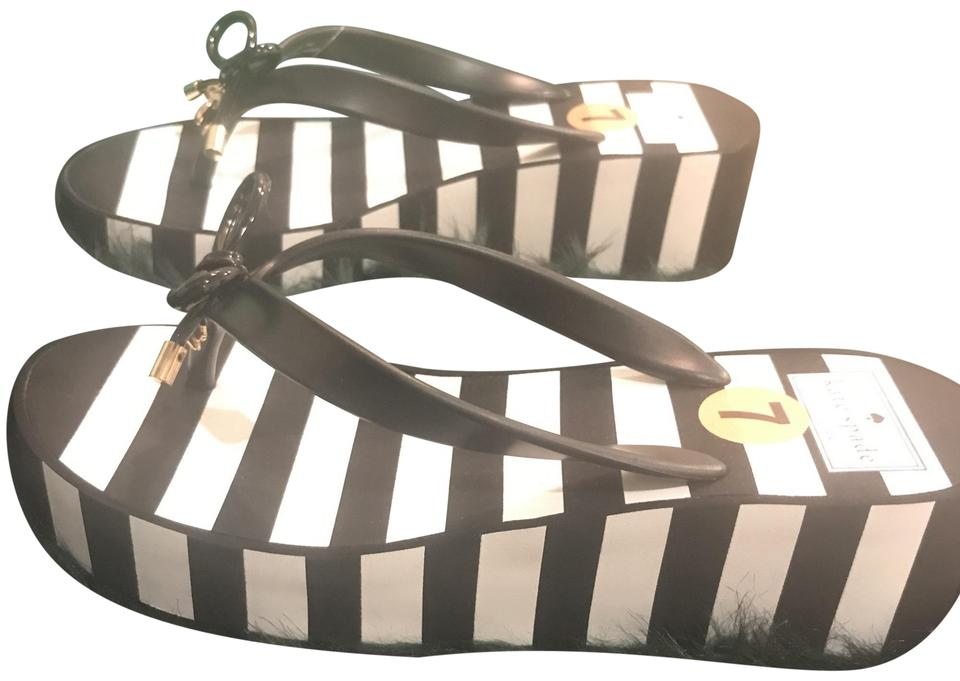 3e7db8bf1bba Kate Spade Black and White Rhett Striped Wedge Flip Flop Sandals ...