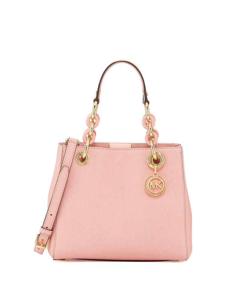 19a4a8eaaeec Michael Kors Purse Small Cynthia Mk Cynthia Cynthia Mk Crossbody Satchel in  PALE PINK/GOLD ...