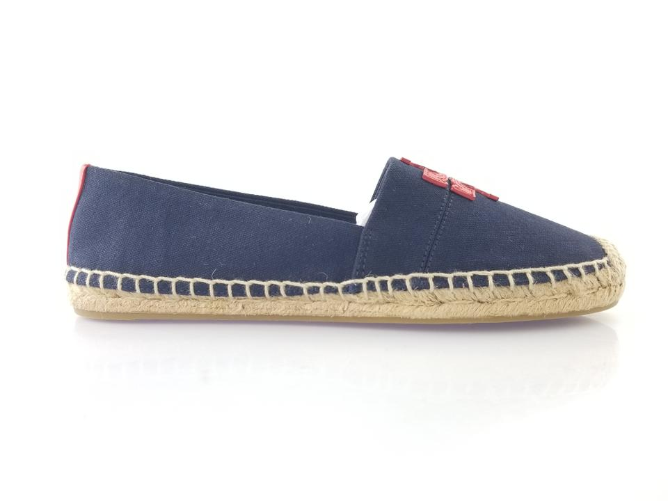 6bbee1f8d30 Tory Burch Perfect Navy and Nautical Red Weston Canvas Calf Espadrille Flats