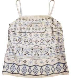 White House | Black Market Camisole Beads Top White, Blue, Silver