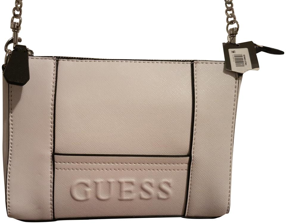 Guess Chain Strap Purse White and Black Faux