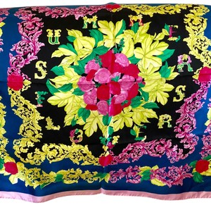 Versace Collection Foulard Carre Giallo Nero Azurro Ifo9r02 Black Pink Blue Silk Floral Scarfs