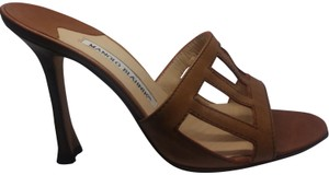 Manolo Blahnik Leather Designer Open Toe Brown Pumps